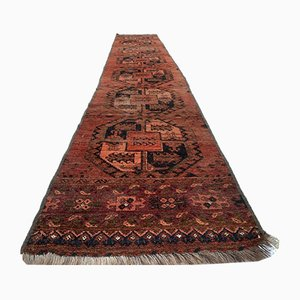 Vintage Turkmen Narrow Vegetable Dye Wool Ersari Tribal Runner Rug 425x70 cm