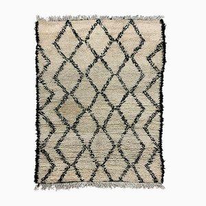 Marokkanischer Vintage Beni Ourain Berber Tribal Teppich 195x150 cm