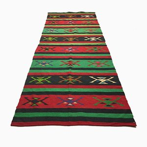 Large Turkish Moroccan Green Wool Shabby Kilim Rug 294x116 cm