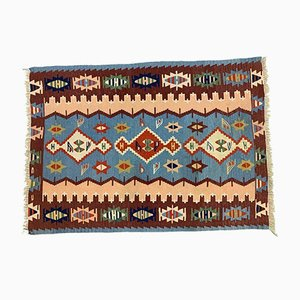 Tapis Kilim Oushak Medium Shabby Wool en Laine, Turquie, 162x105 cm
