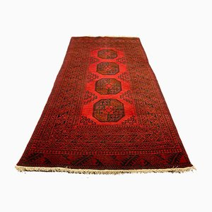 Vintage Afghan Red and Black Tribal Rug 193x100 cm