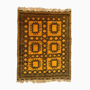 Vintage Afghan Gold and Black Wool Tribal Rug 200 x 151 cm