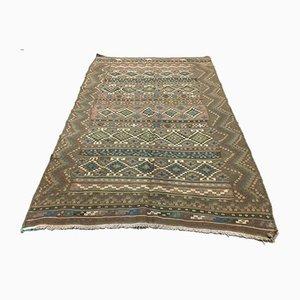 Großer kaukasischer marokkanischer Vintage Kilim Teppich mit schäbiger Wolle 230 x 150 cm