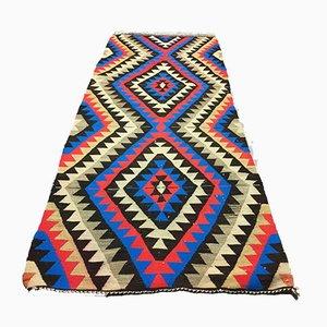 Vintage Turkish Shabby Wool Kilim Runner Rug 230x95 cm
