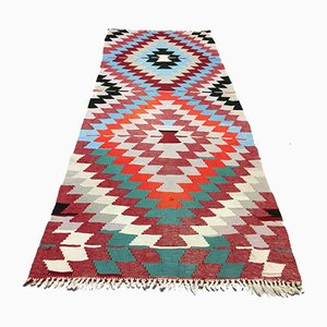 Vintage Turkish Shabby Wool Kilim Runner Rug 220 x 85 cm
