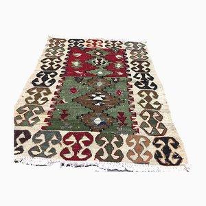 Vintage Turkish Traditional Shabby Wool Kilim Rug 90x66cm