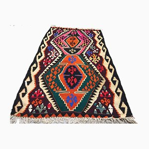 Vintage Turkish Traditional Shabby Wool Kilim Rug 144x82cm