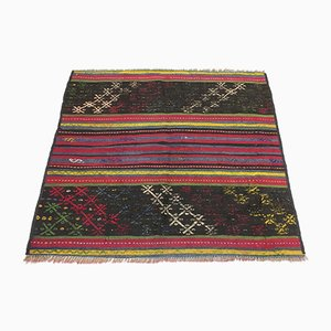Vintage Turkish Traditional Shabby Wool Kilim Rug 90x100cm