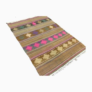 Vintage Turkish Traditional Shabby Wool Kilim Rug 130x92cm