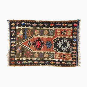 Vintage Turkish Traditional Shabby Wool Kilim Rug 110x72cm