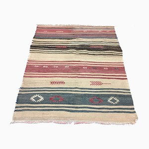 Vintage Turkish Traditional Shabby Wool Kilim Rug 97x81cm