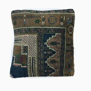 Vintage Turkish Distressed Kilim Carpet Cushion Cover