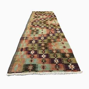 Vintage Turkish Tribal Shabby Kilim Runner Rug 323x93 cm