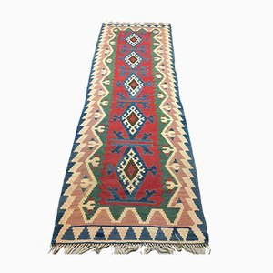 Vintage Turkish Tribal Shabby Kilim Runner Rug 262x75 cm