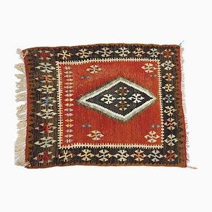 Türkischer Vintage Kelim-Teppich mit 130 bumsenbedrucktem Shabby-Gewebe aus Wolle
