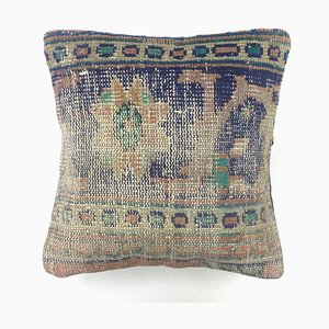 Vintage Turkish Moroccan Distressed Kilim Carpet Cushion Cover