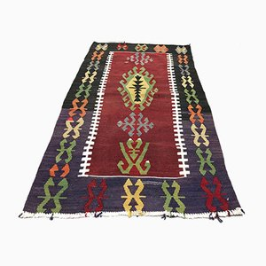 Vintage Turkish Wool Country Home Decor Kilim Rug