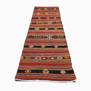 Vintage Turkish Narrow Country Home Decor Kilim Runner Rug