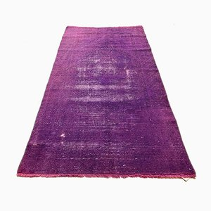 Vintage Turkish Distressed Overdyed Wool Tribal Rug
