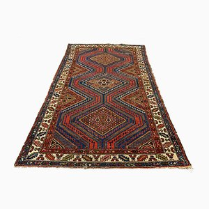 Vintage Red & Blue Shabby Chic Tribal Zanjan Rug