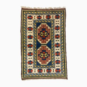 Vintage Turkish Handwoven Oriental Tribal Kazak Rug