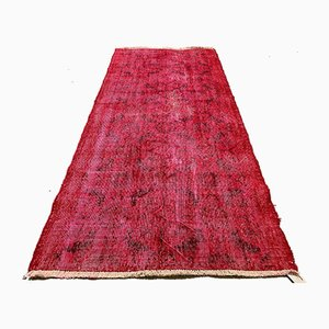 Vintage Turkish Distressed Overdyed Wool Rug