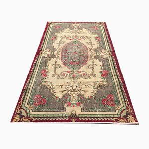 Vintage Turkish Middle East Handmade Distressed Wool Rug