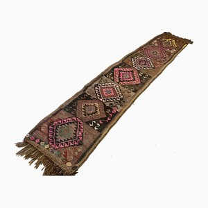 Vintage Turkish Long Country Home Kilim Runner Rug