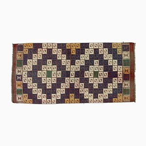 Vintage Turkish Wool Shabby Chic Kilim Runner Rug