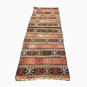 Vintage Turkish Narrow Shabby Chic Kilim Runner Rug