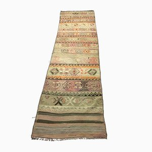 Vintage Turkish Narrow Tribal Kilim Runner Rug