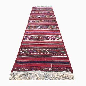 Vintage Turkish Narrow Shabby Chic Kilim Runner Rug