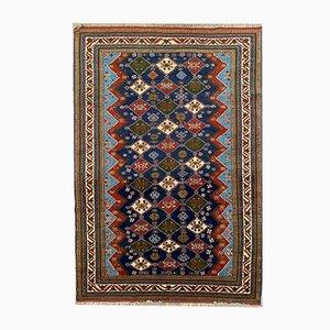 Vintage Shirvan Blue & Red Kazak Rug