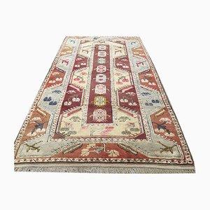 Vintage Turkish Handmade Wool Oriental Milas Oushak Rug