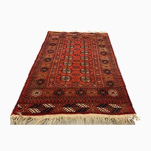Small Vintage Red & Black Afghan Village Tribal Rug