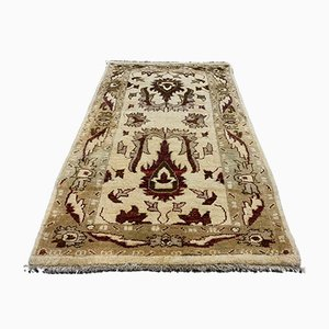 Small Vintage Handmade Beige Wool Afghan Ziegler Rug