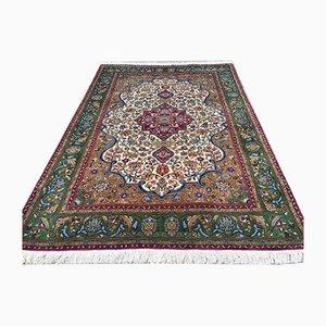 Handgefertigter orientalischer Vintage Kashan Teppich aus naturbelassenem Wollstoff in Woll-Optik