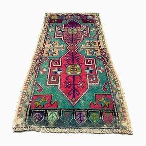 Small Vintage Turkish Short Tribal Runner Rug