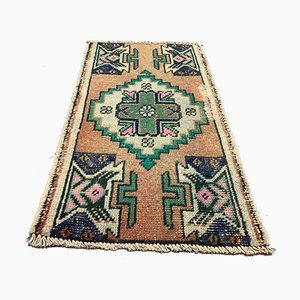Small Vintage Turkish Short Tribal Runner Rug