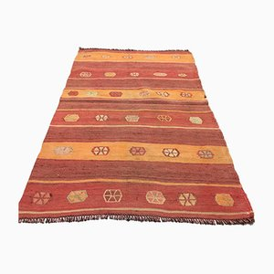 Small Vintage Turkish Traditional Tribal Kilim Rug