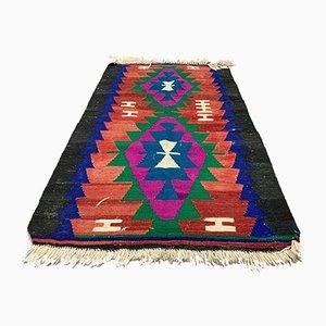 Small Vintage Traditional Turkish Wool Kilim Rug