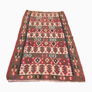 Small Vintage Traditional Turkish Wool Kilim Rug