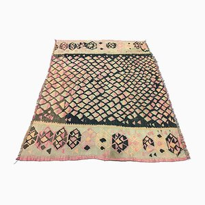 Vintage Turkish Wool Shabby Chic Tribal Kilim Rug