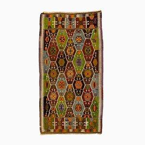 Large Vintage Turkish Wool Barak Kilim Rug