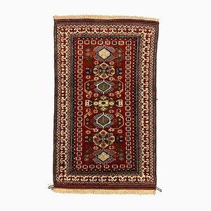 Vintage Turkish Red, Blue and Beige Bergama Rug