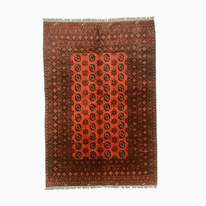 Vintage Afghan Red Tribal Bokhara design with Guls Rug