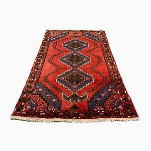 Vintage Handmade Red & Navy Wool Oriental Tribal Rug