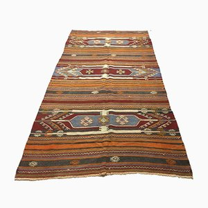 Large Vintage Turkish Wool Country Home Kilim Rug