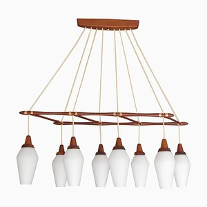 Large Mid-Century Danish Modern Teak, Glass, and Copper Chandelier from Temde, 1960s