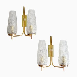 Mid-Century Gilded Brass and Brutalist Glass Sconces from Arlus, 1960s, Set of 2